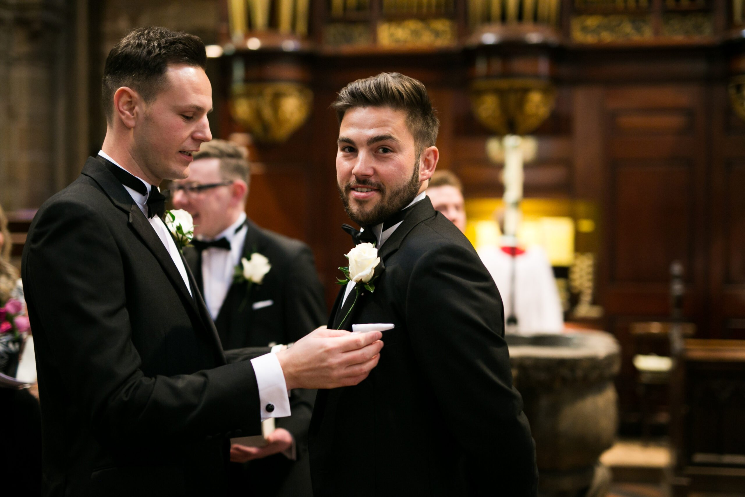 groomsmen getting ready at the church